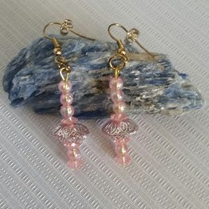 4/$20 Earrings Pink Gold Handmade One Size